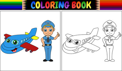 Coloring book with pilot kid and airplane