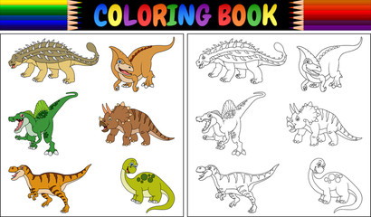 Coloring book with dinosaur cartoon collection