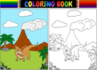 Coloring book with parasaurolophus cartoon