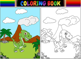 Coloring book with tyrannosaurus cartoon