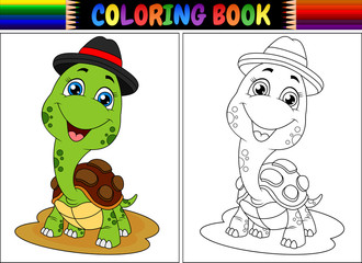 Coloring book with cute turtle wearing cap
