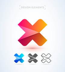 Vector abstract letter X logo design elements. Material design, flat, line art styles.