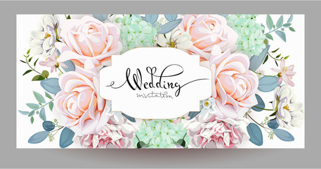 Wedding invitation with roses 2
