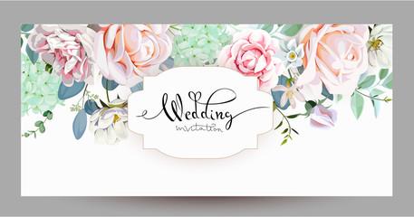 Wedding invitation with roses 3