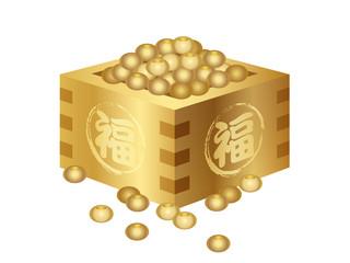 節分 黄金の福豆のイラストレーション