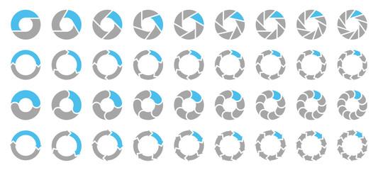 Square Set Pie Charts Arrows Grey/Blue