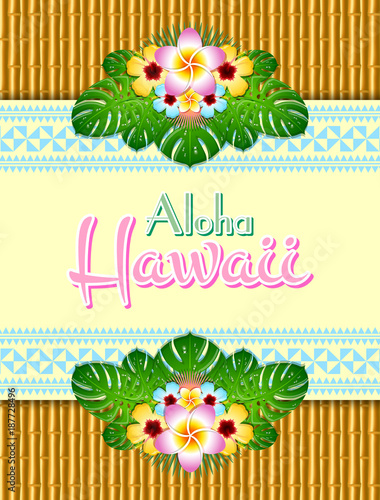 Hawaiian Document Background In Polynesian Style With Aloha Hawaii Text Traditional Ornaments And Floral Decorations