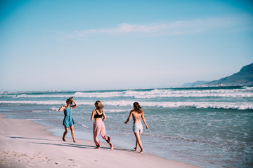 Group of younf adult friends walking on the beach Wall mural