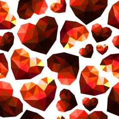 seamless pattern diamond hearts with faces