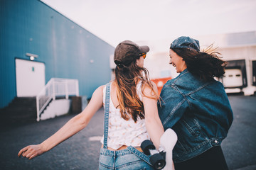 Young hipster friends having fun together Wall mural