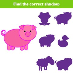 Shadow matching game for children. Find the right shadow. Activity for preschool kids. Animal pictures for kids