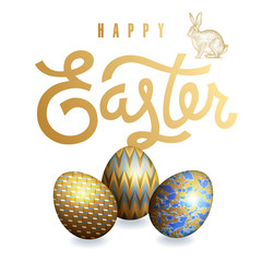 "Card with realistic Easter eggs and inscription ""Happy Easter""."