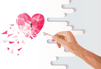 Human hand opening the heart. polygonal style. Vector