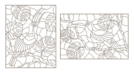 Set contour illustrations with birds toucans on branches of a tropical tree , a dark outline on a white background