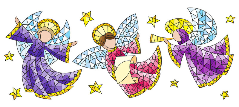 A set of stained glass angels and stars, coloured figures on a white background