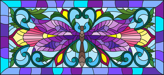 Illustration in stained glass style with bright dragonfly and floral ornament on a light background in a frame