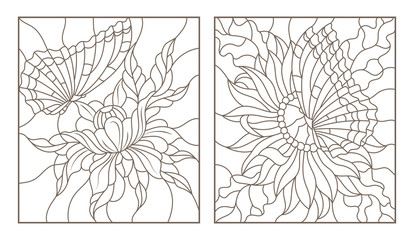 Set contour illustrations of the stained glass with butterflies and flowers,black contour on white background