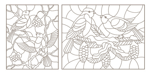 Set contour illustrations of stained glass with birds on the branches of snow-covered trees , dark outlines on a white background