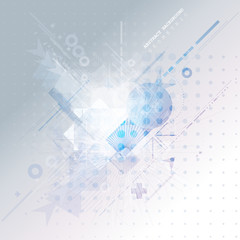 Abstract background with colorful geometric elements. Technology design.