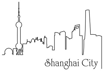 Shanghai city one line drawing background
