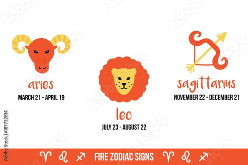 Hand drawn, doodle vector illustrations of fire zodiac signs