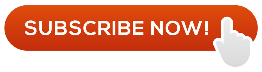 Red Subscribe Now Button with Gray Hand Cursor, Vector Image