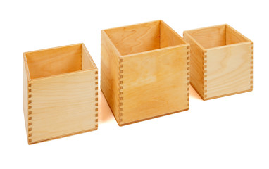 Wooden open boxes