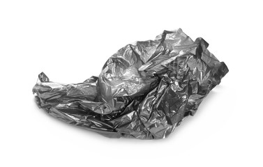 Crumpled grey plastic bag, isolated on white background