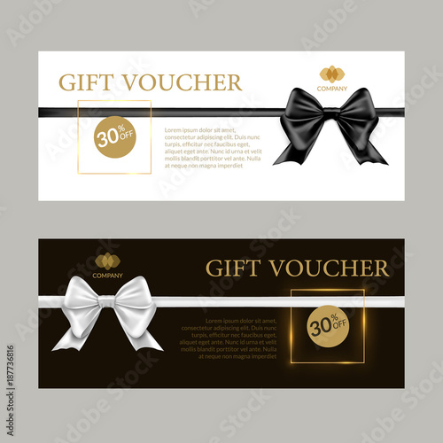 gift card or gift voucher template black and white bows and ribbons