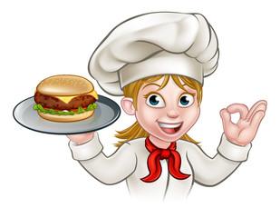 Chef Woman Cartoon Character Holding Burger