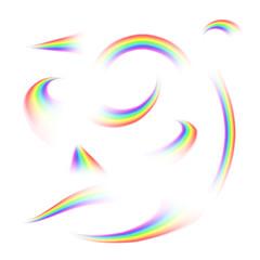 Set or rainbow rays isolated on white background