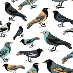 Collection of various birds seamless pattern. Vector illustration on white background