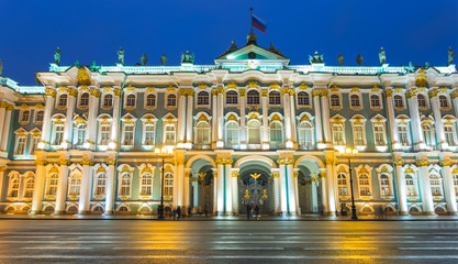 Winter Palace in the evening after a rain
