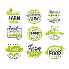 Creative hand drawn gray and green design of organic food logo set. Fresh farm products. Labels for shop or market. Vector collection