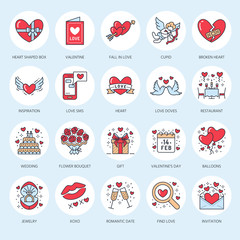Valentines day flat line icons. Love, romance symbols - heart, engagement ring, wedding cake, Cupid, romantic date, valentine card, doves kiss, red rose. Thin linear signs for february 14 celebration.