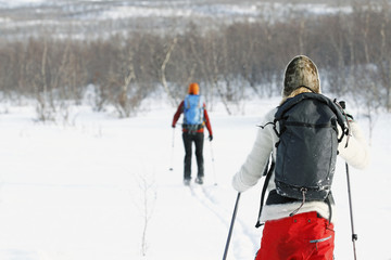 Women cross-country skiing