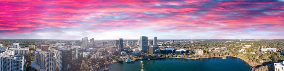 Wall Mural - Orlando skyline at sunset, beautiful panoramic view of Florida