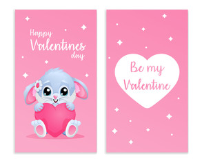 Cute card for Valentines day with bunny and hearth. two sides . Be my valentine. vector illustration. Pink gradient background.