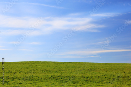 Abstract Of Sky And Green Ground Background Stock Photo And Royalty