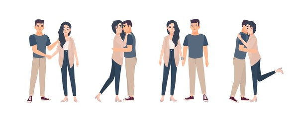 Collection of young couple standing in various poses. Bundle of man and woman embracing, hugging, holding hands. Set of flat cartoon characters isolated on white background. Vector illustration.