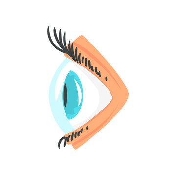 Human eye with contact lense side view cartoon vector Illustration