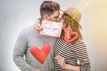 Liebe Paar gemeinsam feiert Valentinstag