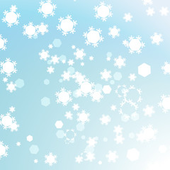 Abstract light blue winter background with hexagon shapes and snowflakes.