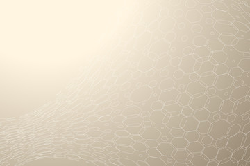 Abstract gradient beige background with white hexagon mesh.