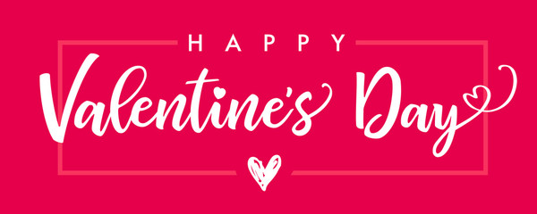 lettering happy valentines day banner pink valentines day greeting card template with typography text happy valentines day and red heart and line on