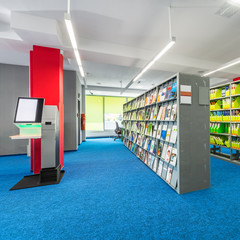 Library interior with functional shelves