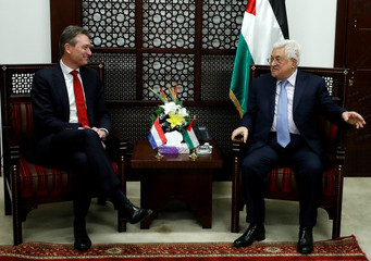 Palestinian President Mahmoud Abbas meets with meets with Dutch Foreign Minister Halbe Zijlstra, in the West Bank city of Ramallah