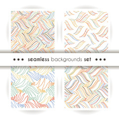 Vector doodle seamless pattern set with ink brush or pen strokes