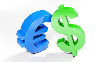 Euro and Dollar symbols - 3D rendering