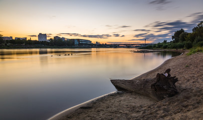 Sunset over the Vistula river in Warsaw, Poland